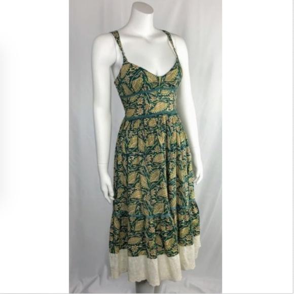 Free People Dresses & Skirts - Free People Green Floral Peasant Dress Racerback
